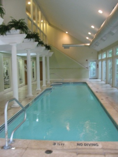The beautiful indoor lap pool at Crestwood Spa