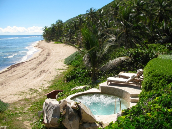 Private beach for use of spa  guests at Peter Island Resort