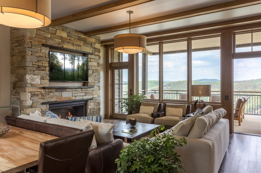 Livingrooms have gorgeous views of the gorge and pinnacles of Dan